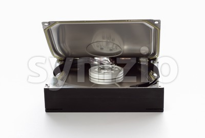 Hard drive with half open cover Stock Photo
