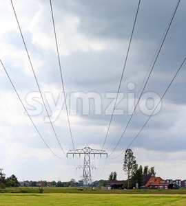 Power lines across the landscape Stock Photo