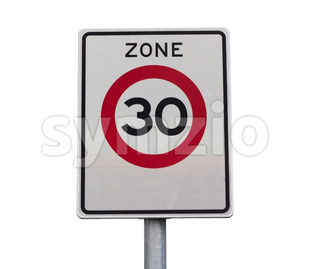 Zone 30 km/h speed limit road sign
