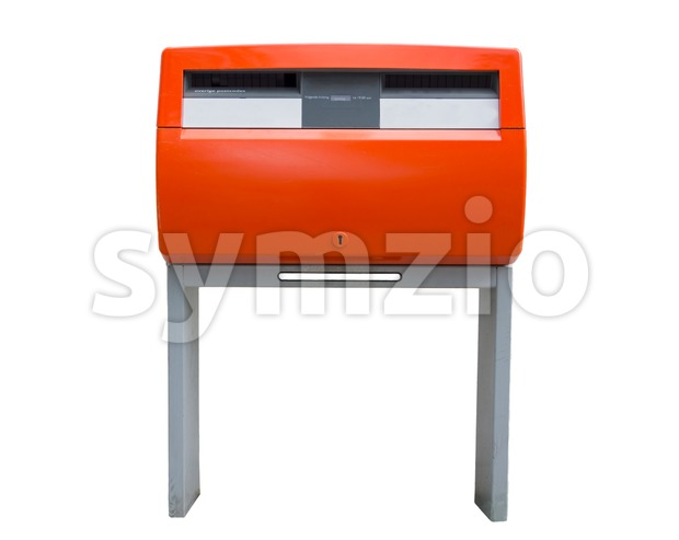 Orange Dutch public mailbox Stock Photo