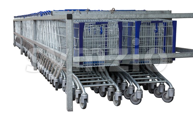 Isolated row of metal shopping carts Stock Photo
