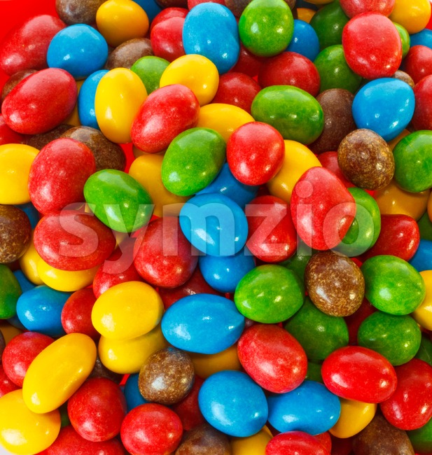 Top view of a pile of colorful chocolate candies