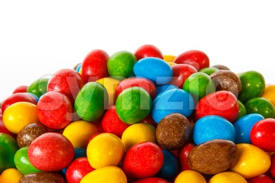 Closeup of colored chocolate sweets Stock Photo
