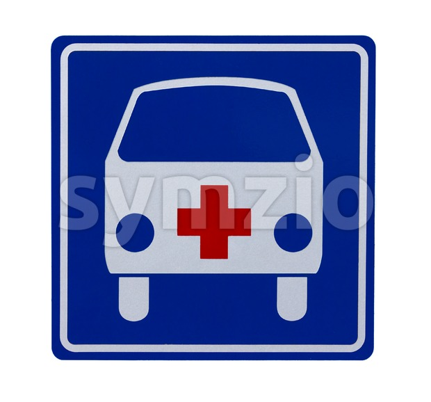 Traffic sign with ambulance Stock Photo