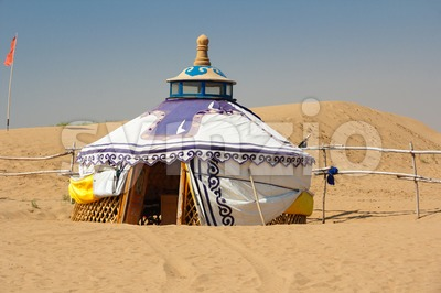 Mongolian Yurt in the Gobi Desert Stock Photo