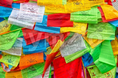 Background of Buddhist Tibetan prayer flags Stock Photo
