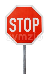Red stop sign on a metal pole Stock Photo
