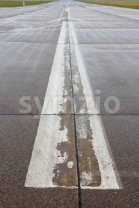 Runway at an airport Stock Photo