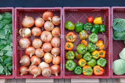 Vegetables in front of the grocery store in autumn Stock Photo
