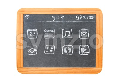 Modern tablet computer drawn on a chalkboard tablet Stock Photo