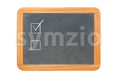 Two checkboxes on vintage chalkboard Stock Photo