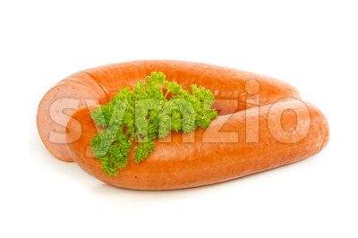 Dutch smoked sausage with curly parsley Stock Photo