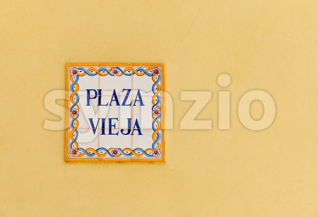 Vintage decorated  ceramic street sign on the Plaza Vieja (The Old Square) in Old Havana, Cuba