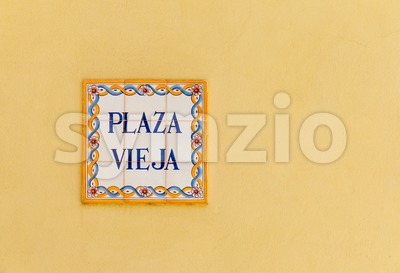 Ceramic street sign on the Plaza Vieja in Havana, Cuba Stock Photo