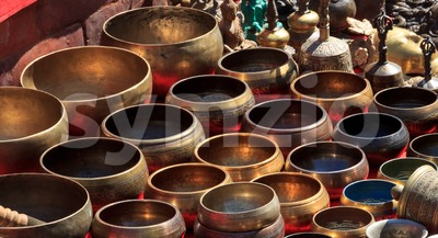 Several singing bowls at a bazaar Stock Photo