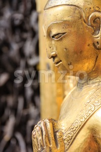 Golden statue at the  Swayambhunath site in Kathmandu, Nepal Stock Photo