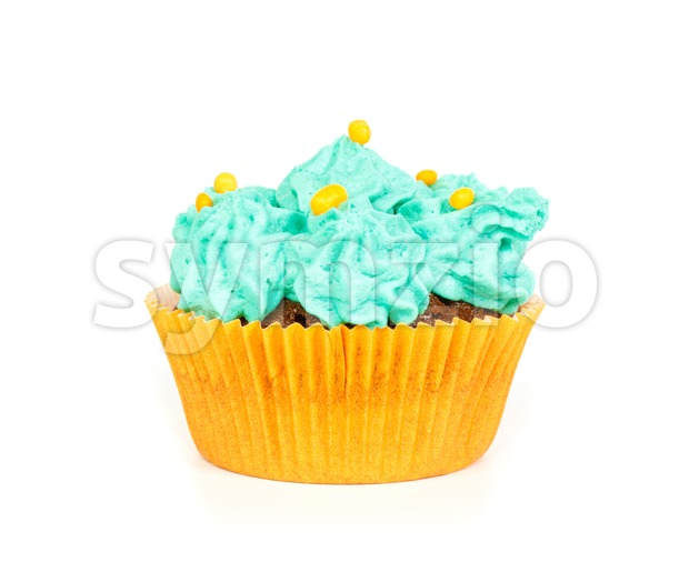 Cupcake with blue rosettes of cream frosting against white background