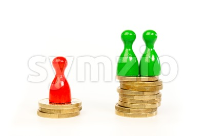 Persons with differences in income Stock Photo