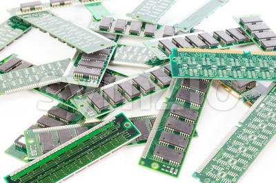 Bunch of computer memory modules Stock Photo