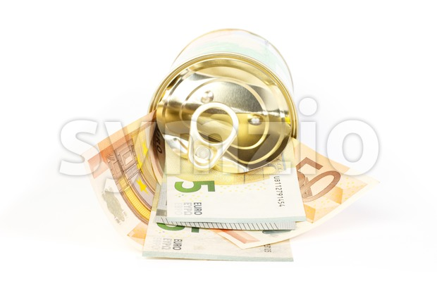 An open tin can of euro banknotes with a pull tab Stock Photo