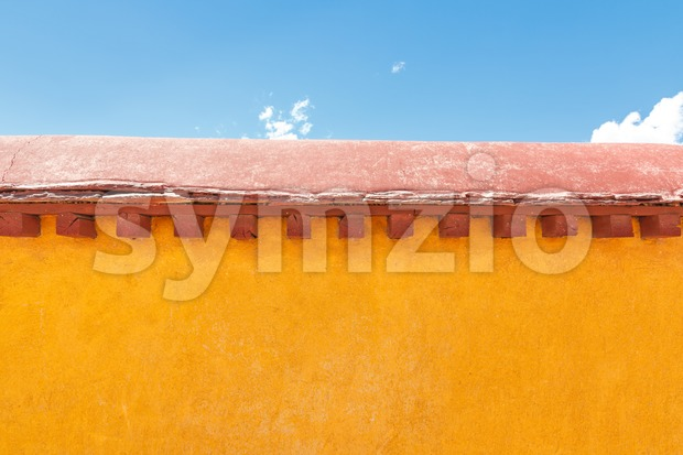 Yellow wall at Jokhang temple, Lhasa, Tibet Stock Photo