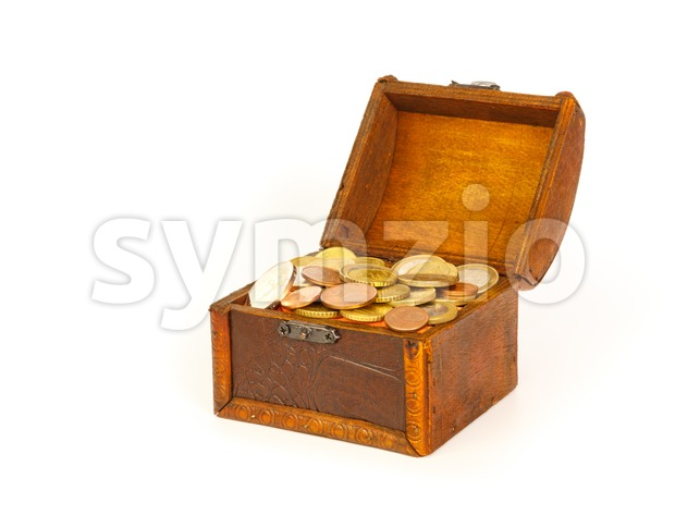 Open treasure chest with euro coins Stock Photo