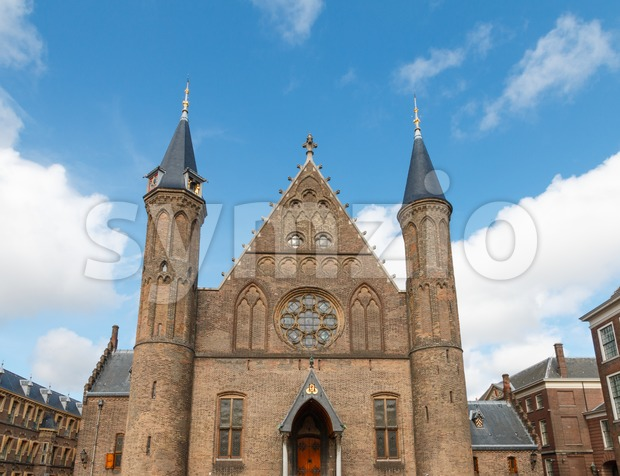 Main facade of the large Gothic Hall of Knights (Ridderzaal) in The Hague, Netherlands