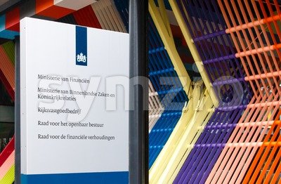 Sign at the Dutch Ministry of Finance Stock Photo