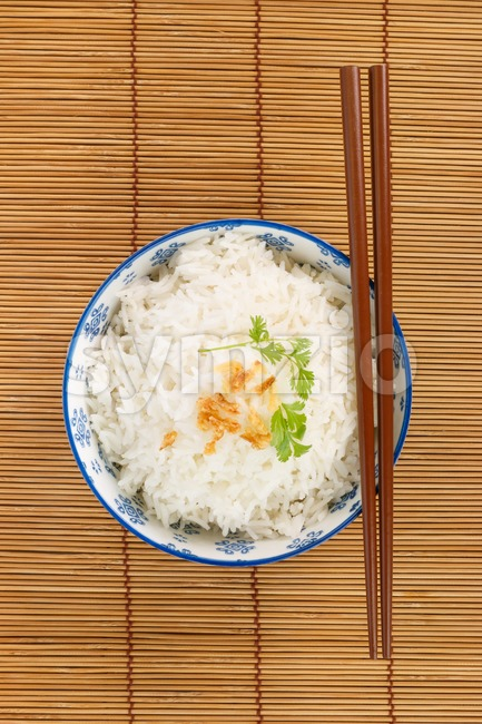Top view of a bowl of rice Stock Photo