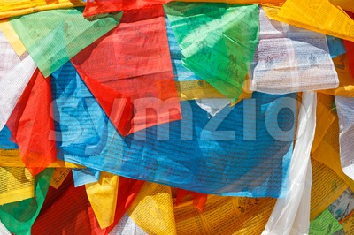 Prayer flags in Lhasa, Tibet Stock Photo
