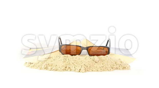 Free time reading a novel and sunglasses Stock Photo