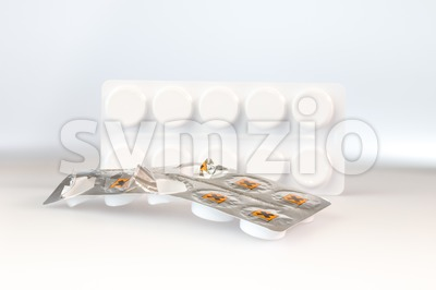 Hazardous tablets in a aluminum blister stripHazardous tablets in a aluminium blister strip Stock Photo