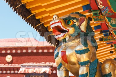 Tibetan bronze Snow Lion in Lhasa Stock Photo
