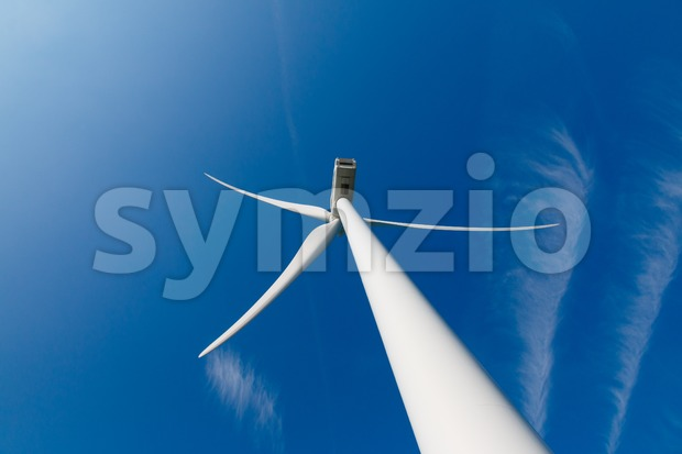 Wind turbine up from the rear Stock Photo