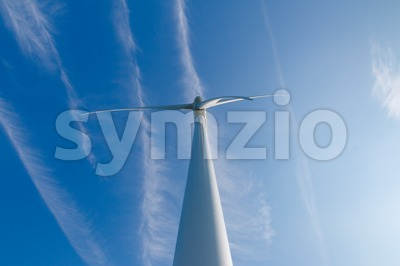 Wind turbine up from the front Stock Photo