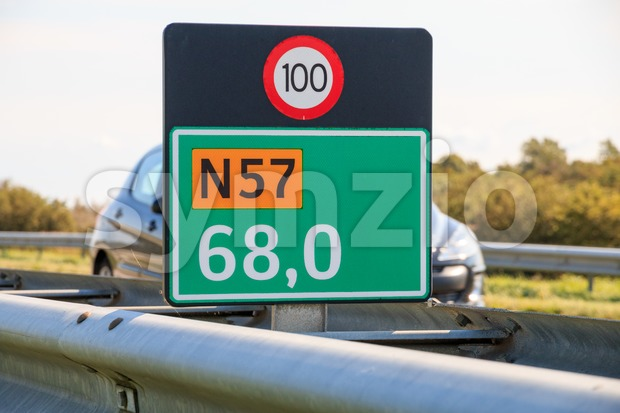 Kilometer marker in the Netherlands Stock Photo