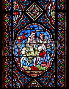 Stained glass windows depicting Mary, Joseph and baby Jesus Stock Photo