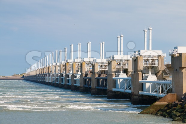 The Eastern Scheldt storm surge barrier or Oosterscheldekering in Zeeland, The Netherlands. This is the largest Delta Work of a ...