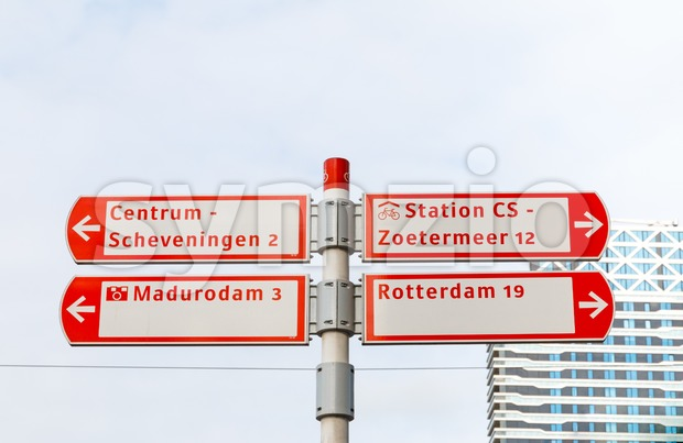 Cycling signs with directions to other places in The Hague, Netherlands