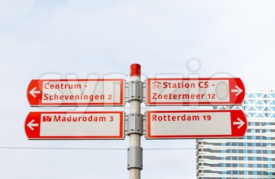 Cycling signs in The Hague, Netherlands Stock Photo