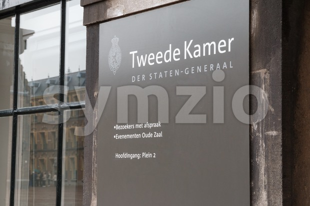 Sign at the Dutch House of Representatives in The Hague, Netherlands Stock Photo