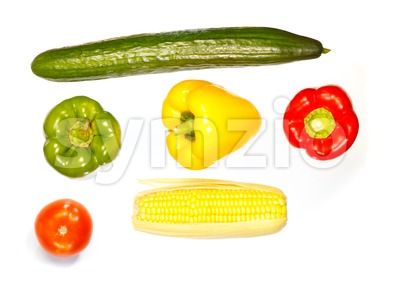 Top view of various vegetables Stock Photo