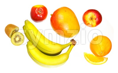 Top view of various fruits Stock Photo