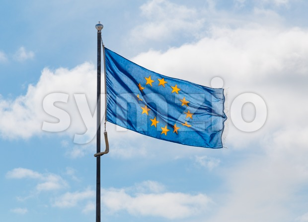 Blue flag of the European Union Stock Photo