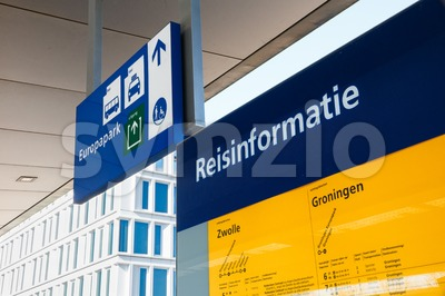 Detailed travel information at a railway station in Groningen, Netherlands Stock Photo