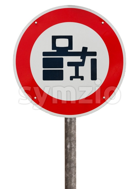 Working not allowed sign Stock Photo