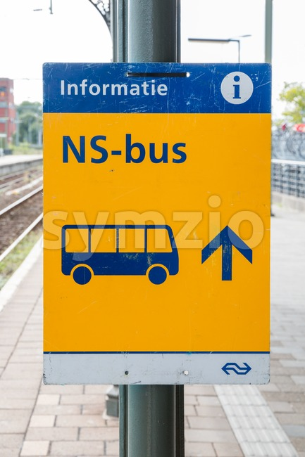 Sign pointing to replacement bus transport operated by the Dutch railway company in The Netherlands Stock Photo