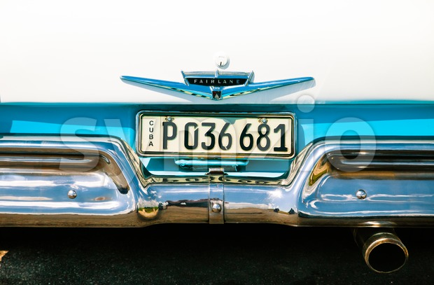 Cuban license plate on a Ford Fairlane Stock Photo