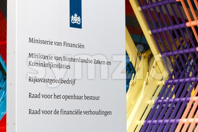 Company sign at the Dutch Ministry of Finance, Ministry of Interior and Kingdom Relations and other departments of the central government Stock Photo