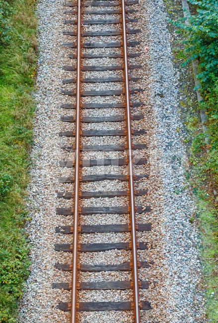 Railroad track from above Stock Photo